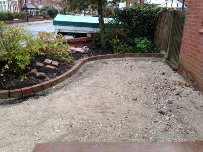 Preparation of base and installation of block paved edging