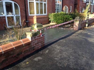 New access with brick pillars